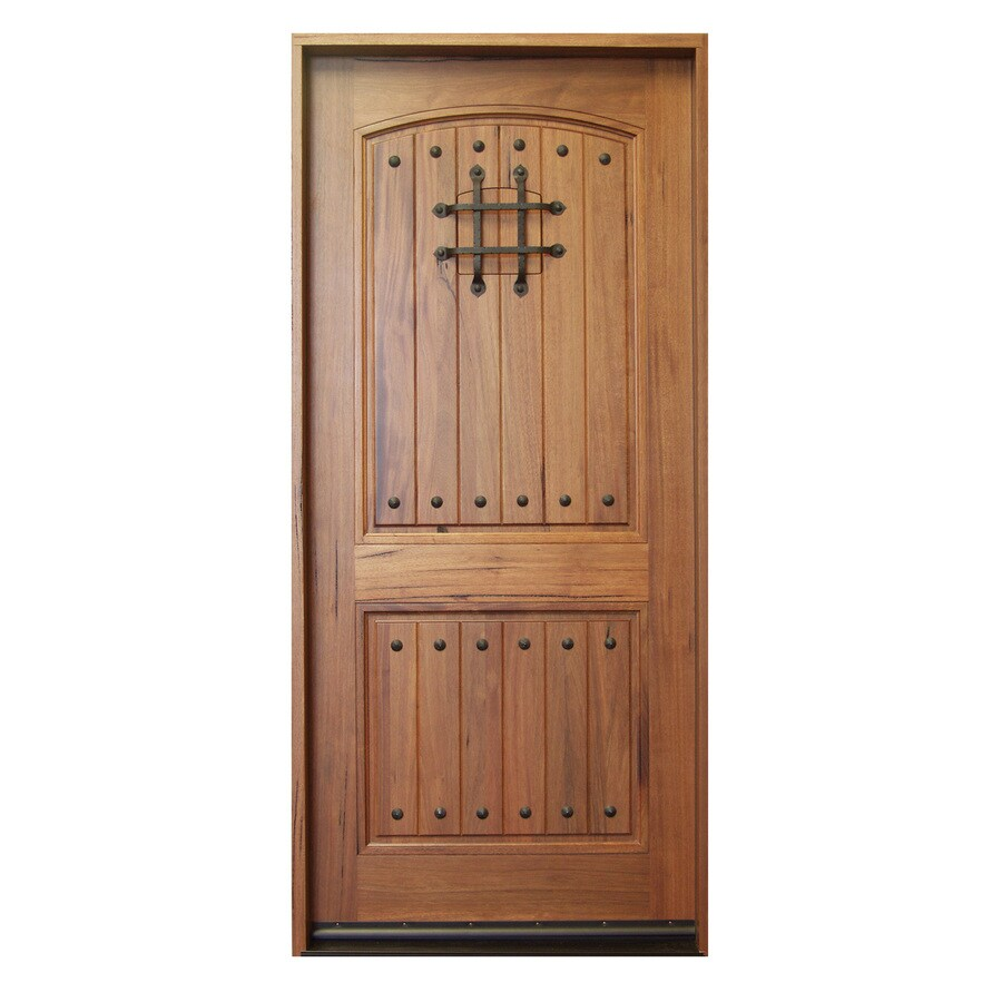 Escon Rustica 2-Panel Solid Hardwood Right-Hand Inswing Stained Medium Spanish Walnut with Satin Prehung Entry Door (Common: 36-in x 80-in; Actual: 37.5-in x 81.5-in)