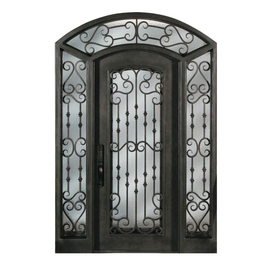 Escon 1-Panel Insulating Core Full Lite Left-Hand Inswing Bronze Iron Painted Prehung Entry Door (Common: 71-in x 97-in; Actual: 70.25-in x 97-in)