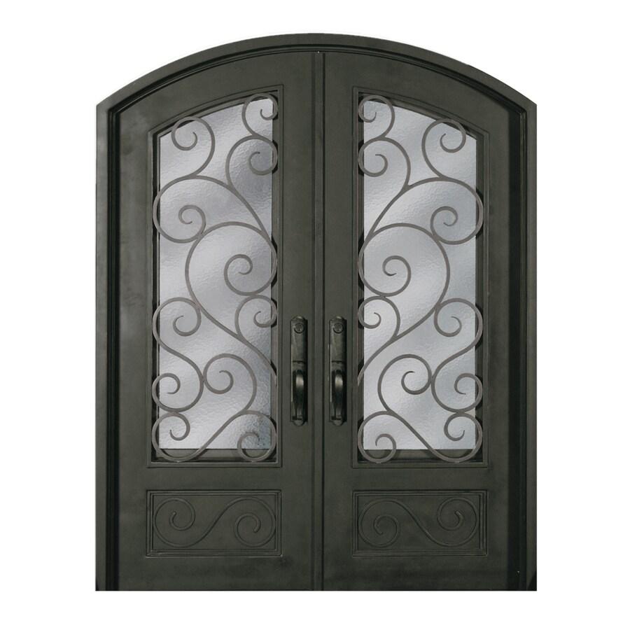 Escon 1-Panel Insulating Core 3/4 Lite Left-Hand Inswing Bronze Iron Painted Prehung Entry Door (Common: 64-in x 96-in; Actual: 64-in x 96-in)