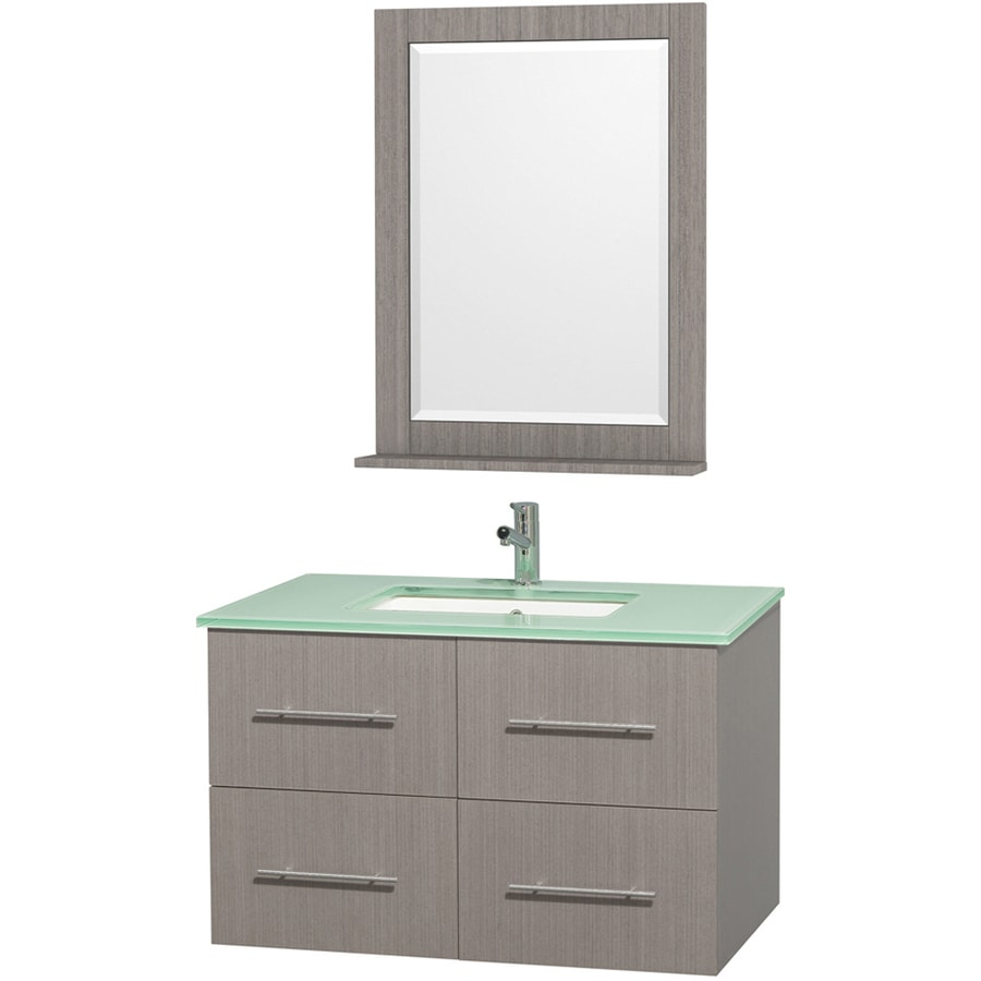 Wyndham Collection Centra Gray Oak Undermount Single Sink Oak Bathroom Vanity with Tempered Glass and Glass Top (Mirror Included) (Common: 36-in x 21.5-in; Actual: 36-in x 21.5-in)