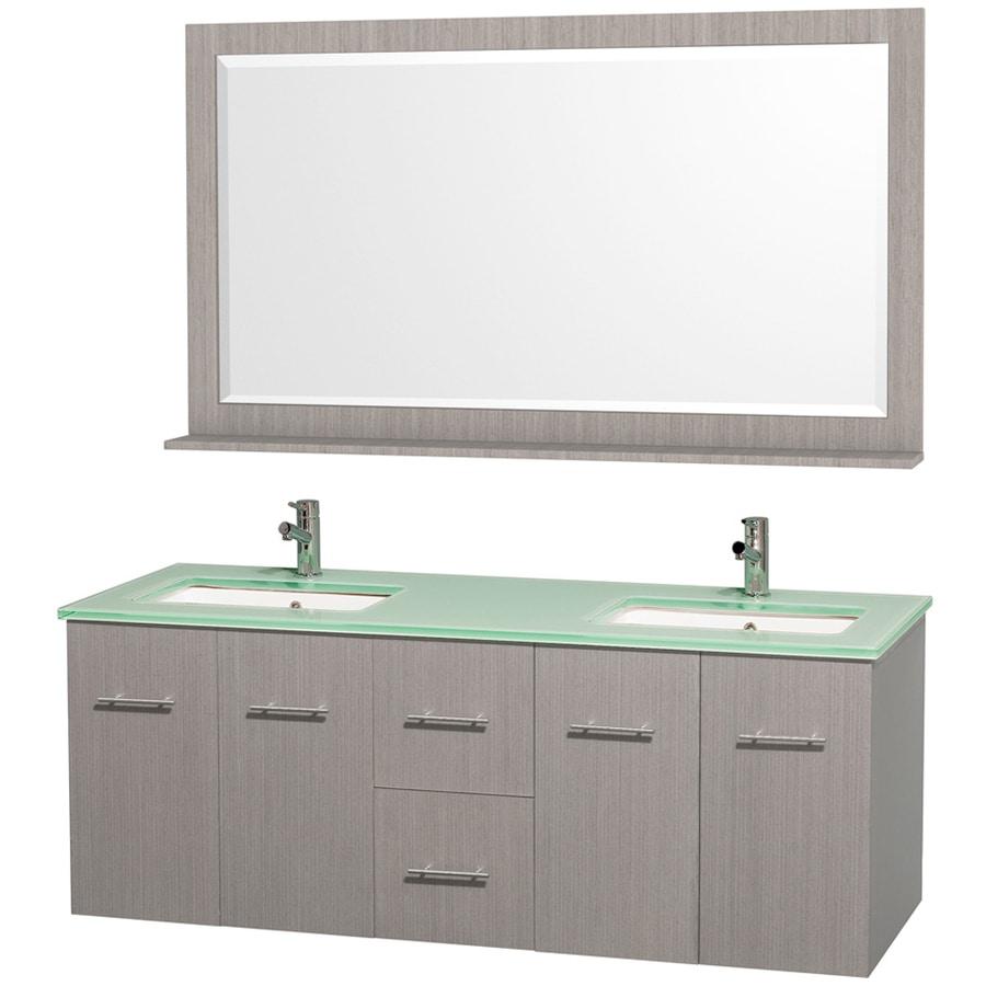Wyndham Collection Centra Gray Oak Undermount Double Sink Oak Bathroom