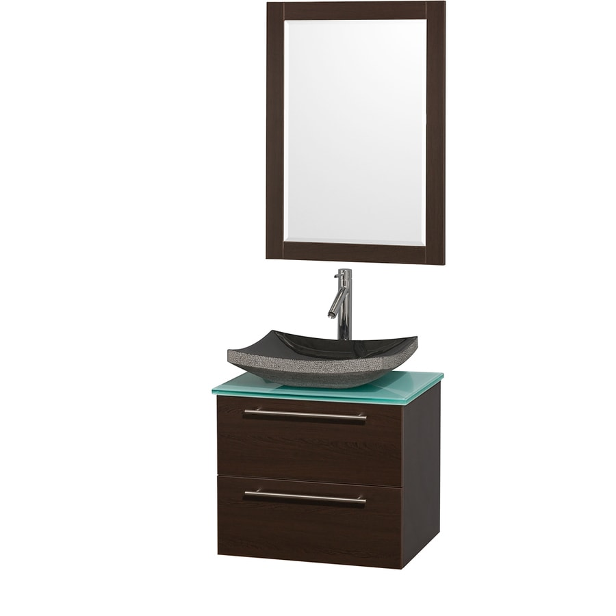 Wyndham Collection Amare Espresso Vessel Single Sink Bathroom Vanity with Tempered Glass and Glass Top (Mirror Included) (Common: 24-in x 20-in; Actual: 24-in x 19.5-in)