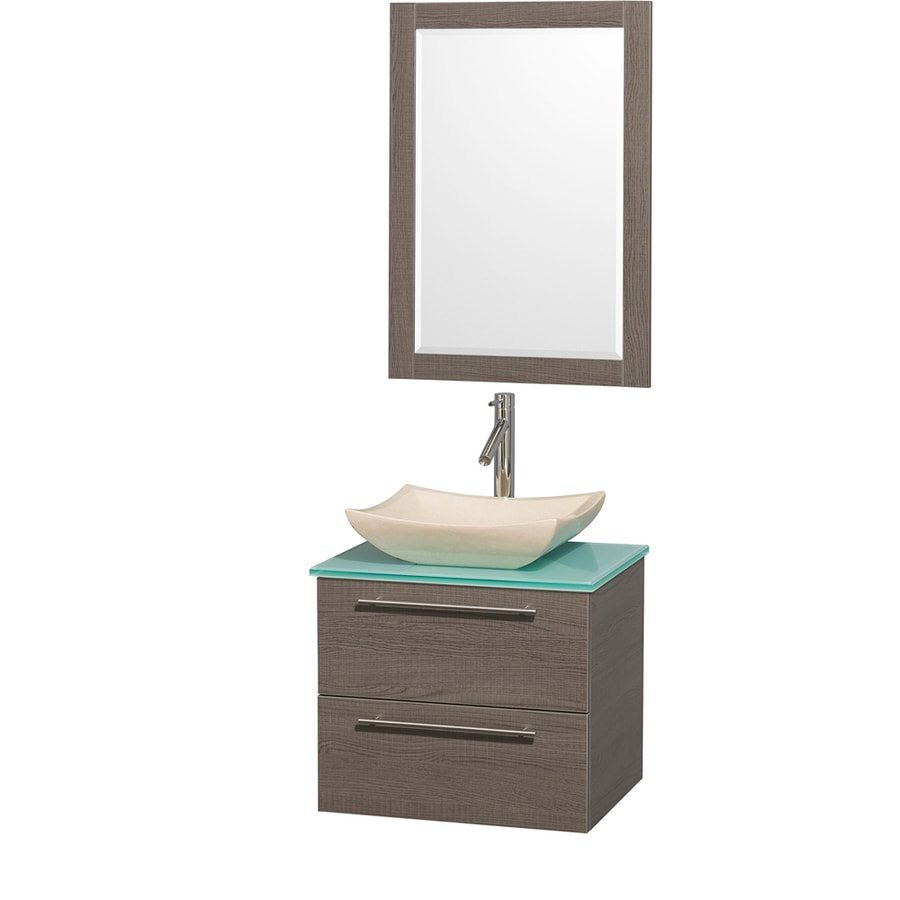 Wyndham Collection Amare Grey Oak Vessel Single Sink Bathroom Vanity with Tempered Glass and Glass Top (Mirror Included) (Common: 24-in x 20-in; Actual: 24-in x 19.5-in)
