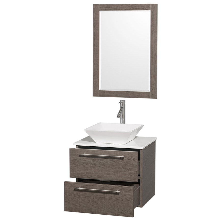 Wyndham Collection Amare Gray Oak Vessel Single Sink Bathroom Vanity with Engineered Stone Top (Mirror Included) (Common: 24-in x 20-in; Actual: 24-in x 19.5-in)