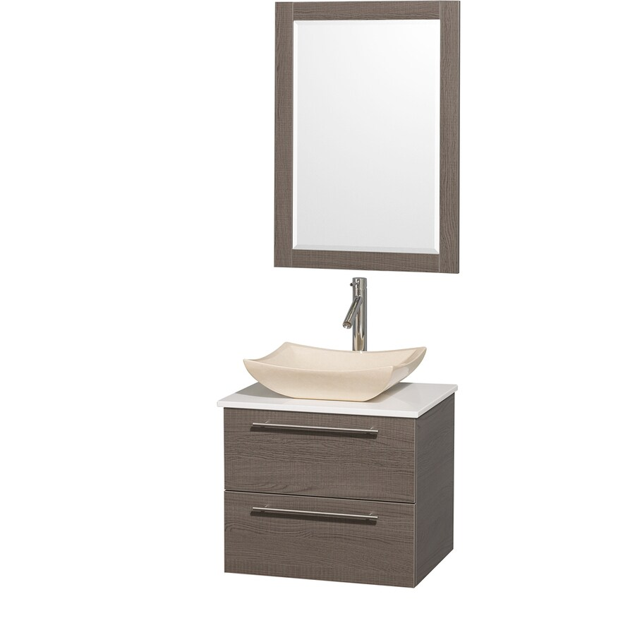 Wyndham Collection Amare Grey Oak Vessel Single Sink Bathroom Vanity with Engineered Stone Top (Mirror Included) (Common: 24-in x 20-in; Actual: 24-in x 19.5-in)