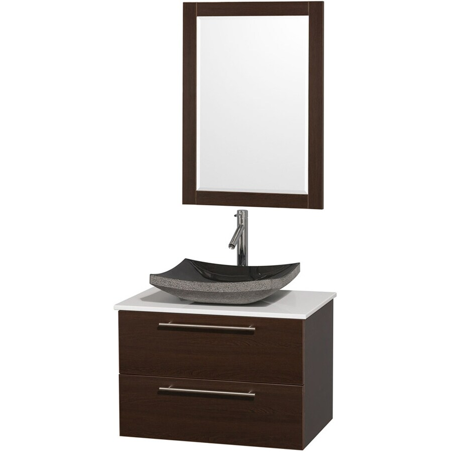 Wyndham Collection Amare Espresso Vessel Single Sink Bathroom Vanity with Engineered Stone Top (Mirror Included) (Common: 30-in x 20.5-in; Actual: 30-in x 20.5-in)