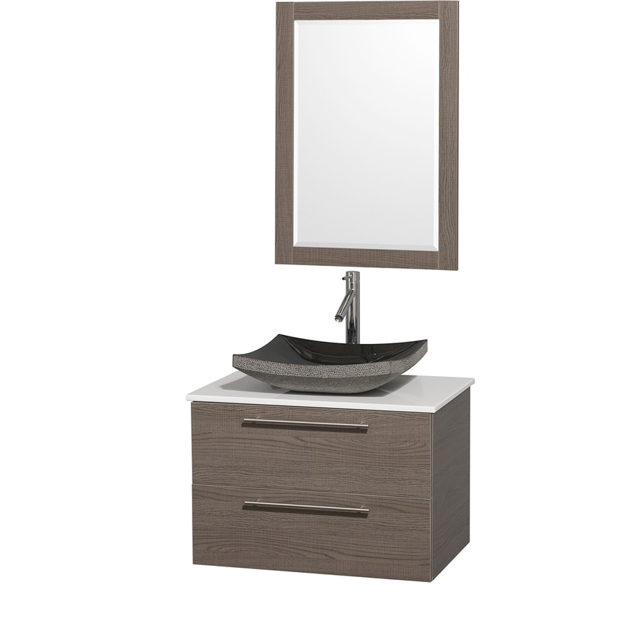 Wyndham Collection Amare Grey Oak Vessel Single Sink Bathroom Vanity with Engineered Stone Top (Mirror Included) (Common: 30-in x 21-in; Actual: 30-in x 20.5-in)