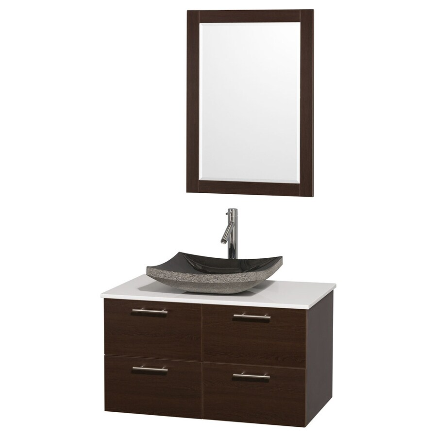 Wyndham Collection Amare Espresso Vessel Single Sink Bathroom Vanity with Engineered Stone Top (Mirror Included) (Common: 36-in x 21.5-in; Actual: 36-in x 21.5-in)