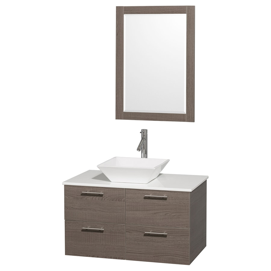 Wyndham Collection Amare Gray Oak Vessel Single Sink Bathroom Vanity with Engineered Stone Top (Mirror Included) (Common: 36-in x 21.5-in; Actual: 36-in x 21.5-in)