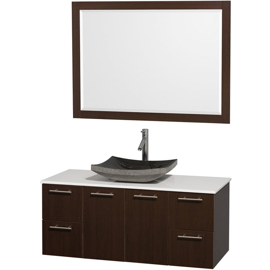 Wyndham Collection Amare Espresso Vessel Single Sink Bathroom Vanity ...