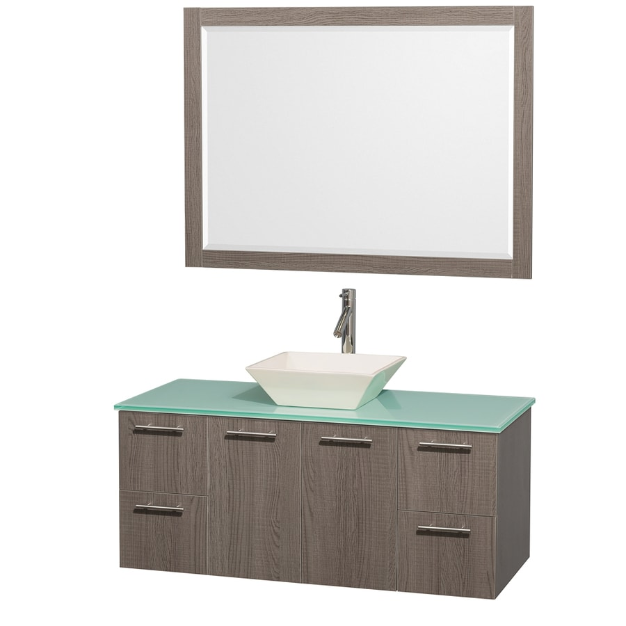 Wyndham Collection Amare Grey Oak Vessel Single Sink Bathroom Vanity with Tempered Glass and Glass Top (Mirror Included) (Common: 48-in x 22-in; Actual: 48-in x 21.75-in)
