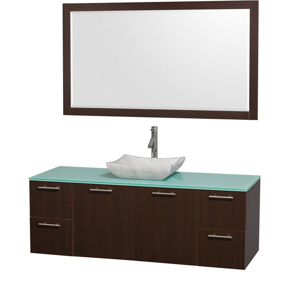Wyndham Collection Amare Espresso Vessel Single Sink Bathroom Vanity with Tempered Glass and Glass Top (Mirror Included) (Common: 60-in x 22-in; Actual: 60-in x 22.25-in)