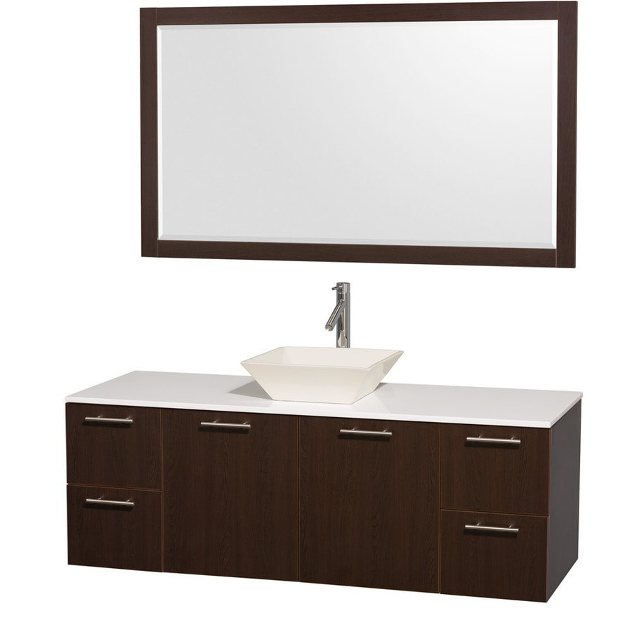 Wyndham Collection Amare Espresso Vessel Single Sink Bathroom Vanity with Engineered Stone Top (Mirror Included) (Common: 60-in x 22-in; Actual: 60-in x 22.25-in)