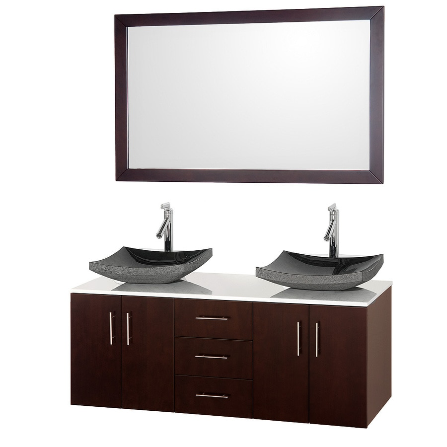 Wyndham Collection Arrano Espresso Vessel Double Sink Bathroom Vanity with Engineered Stone Top (Mirror Included) (Common: 55-in x 21-in; Actual: 55-in x 21-in)