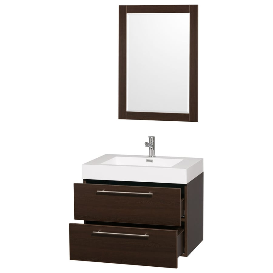 Solid Surface Vanity Tops With Sink : Shop wyndham collection amare espresso integral single