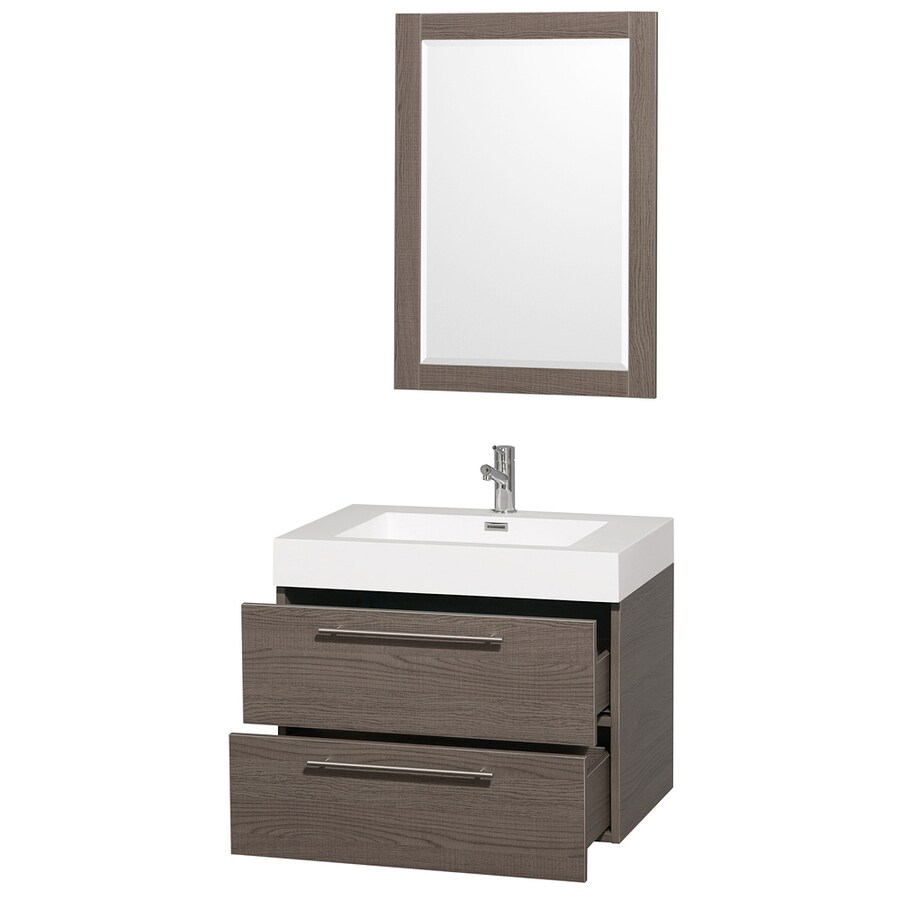 Wyndham Collection Amare Gray Oak Integral Single Sink Bathroom Vanity with Solid Surface Top (Mirror Included) (Common: 29-in x 20-in; Actual: 29-in x 20-in)