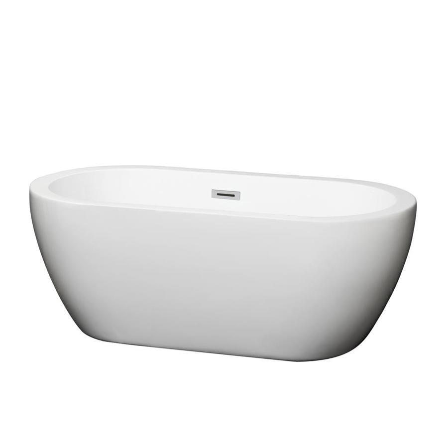 Wyndham Collection Soho White Acrylic Oval Freestanding Bathtub with Center Drain (Common: 30-in x 60-in; Actual: 23-in x 29.25-in x 59.75-in)