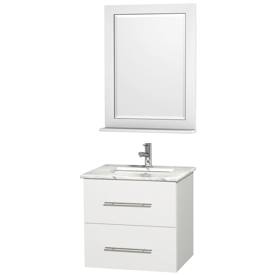 Wyndham Collection Centra White Undermount Single Sink Oak Bathroom Vanity with Natural Marble Top (Mirror Included) (Common: 24-in x 22.5-in; Actual: 24-in x 19.5-in)