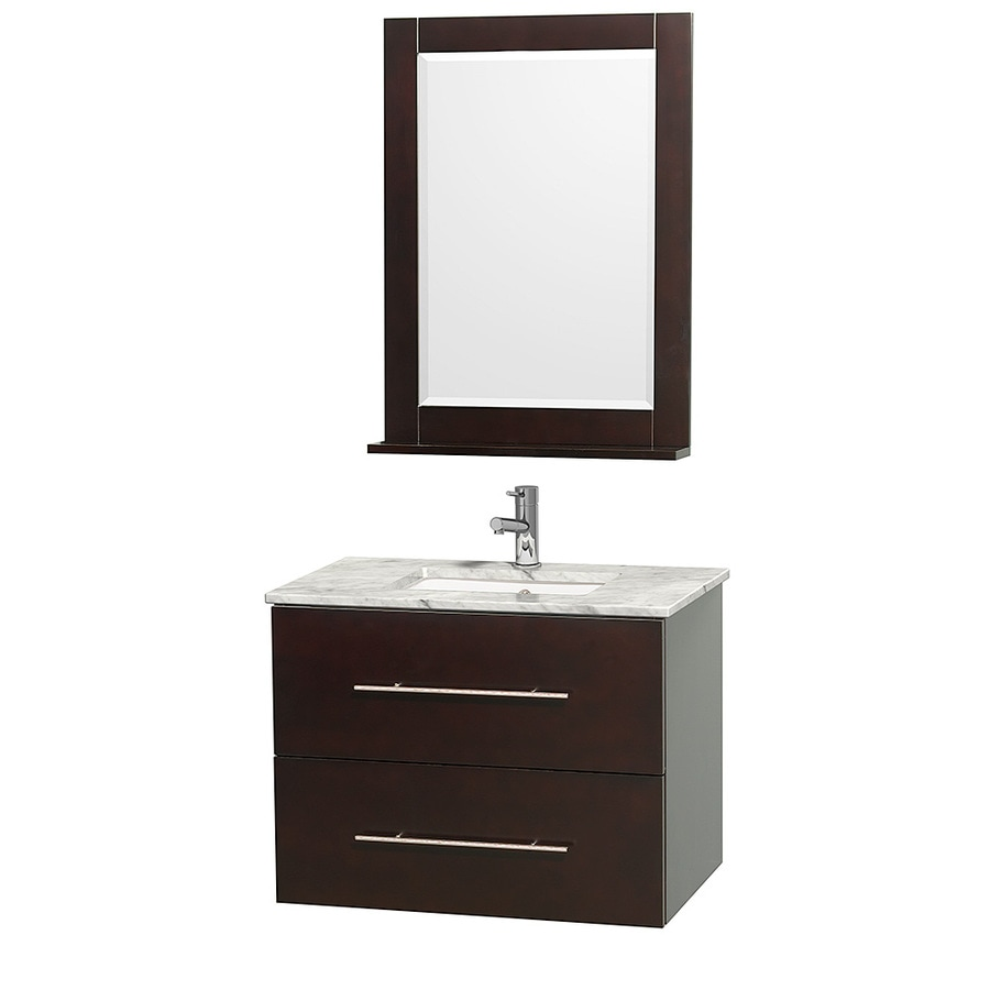 Wyndham Collection Centra Espresso Undermount Single Sink Oak Bathroom Vanity with Natural Marble Top (Mirror Included) (Common: 30-in x 20.5-in; Actual: 30-in x 20.5-in)