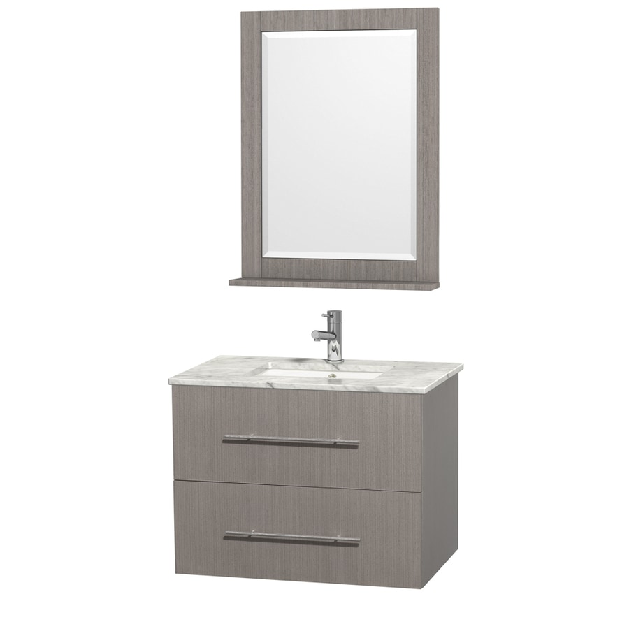 Wyndham Collection Centra Gray Oak Undermount Single Sink Oak Bathroom Vanity with Natural Marble Top (Mirror Included) (Common: 30-in x 20.5-in; Actual: 30-in x 20.5-in)
