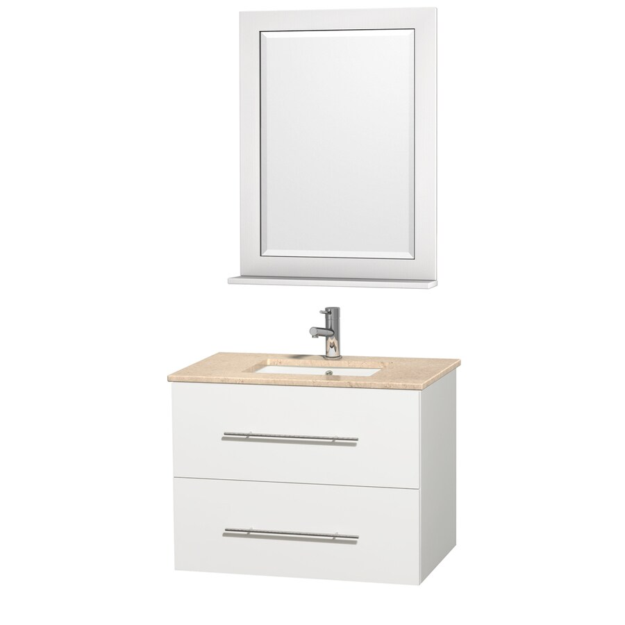 Wyndham Collection Centra White Undermount Single Sink Oak Bathroom Vanity with Natural Marble Top (Mirror Included) (Common: 30-in x 20.5-in; Actual: 30-in x 20.5-in)