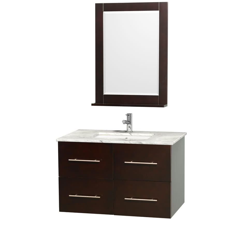 Wyndham Collection Centra Espresso Undermount Single Sink Oak Bathroom Vanity with Natural Marble Top (Mirror Included) (Common: 36-in x 21.5-in; Actual: 36-in x 21.5-in)