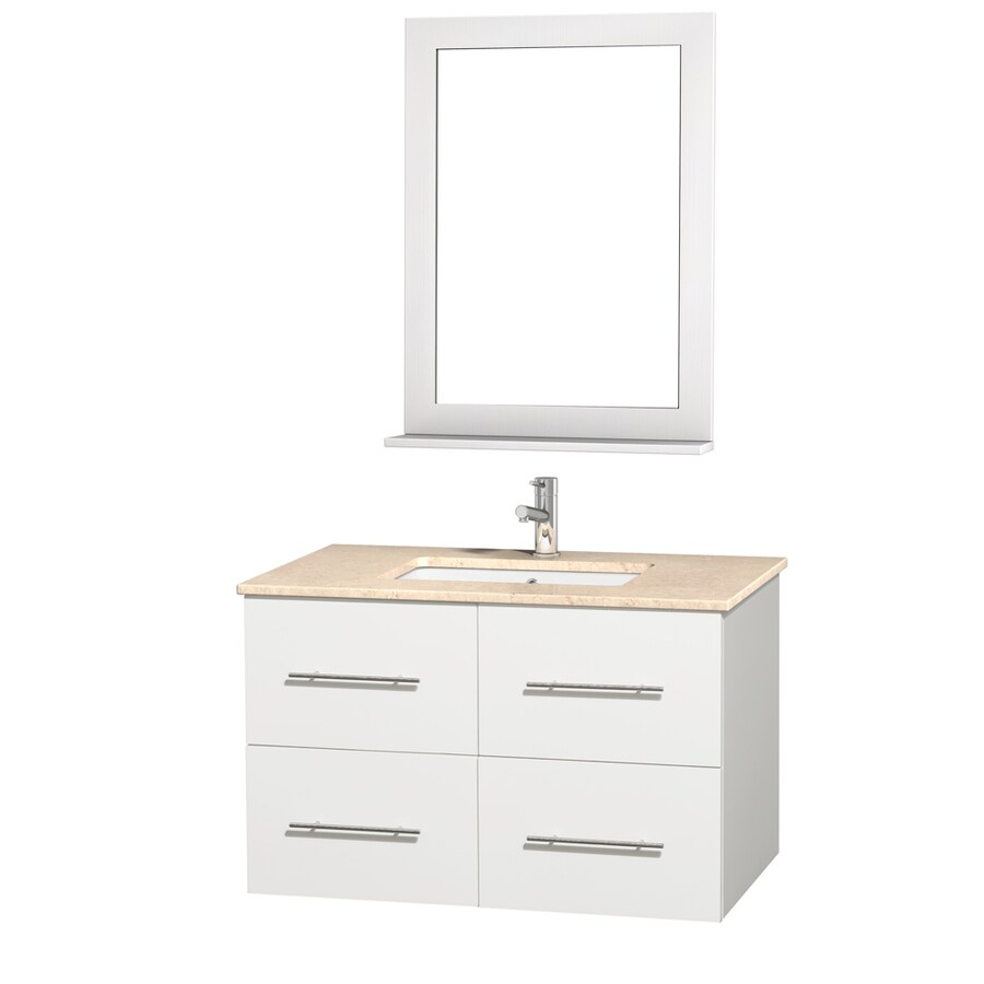 Wyndham Collection Centra White Undermount Single Sink Oak Bathroom Vanity with Natural Marble Top (Mirror Included) (Common: 36-in x 21.5-in; Actual: 36-in x 21.5-in)