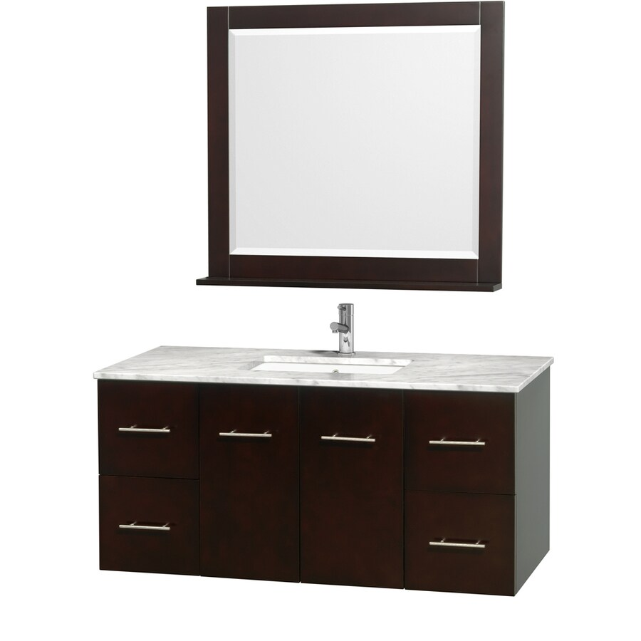 Wyndham Collection Centra Espresso Undermount Single Sink Oak Bathroom Vanity with Natural Marble Top (Mirror Included) (Common: 48-in x 21.5-in; Actual: 48-in x 21.5-in)