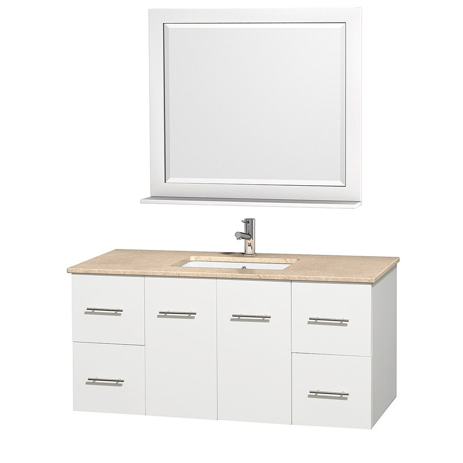 Wyndham Collection Centra White Undermount Single Sink Oak Bathroom Vanity with Natural Marble Top (Mirror Included) (Common: 48-in x 21.5-in; Actual: 48-in x 21.5-in)