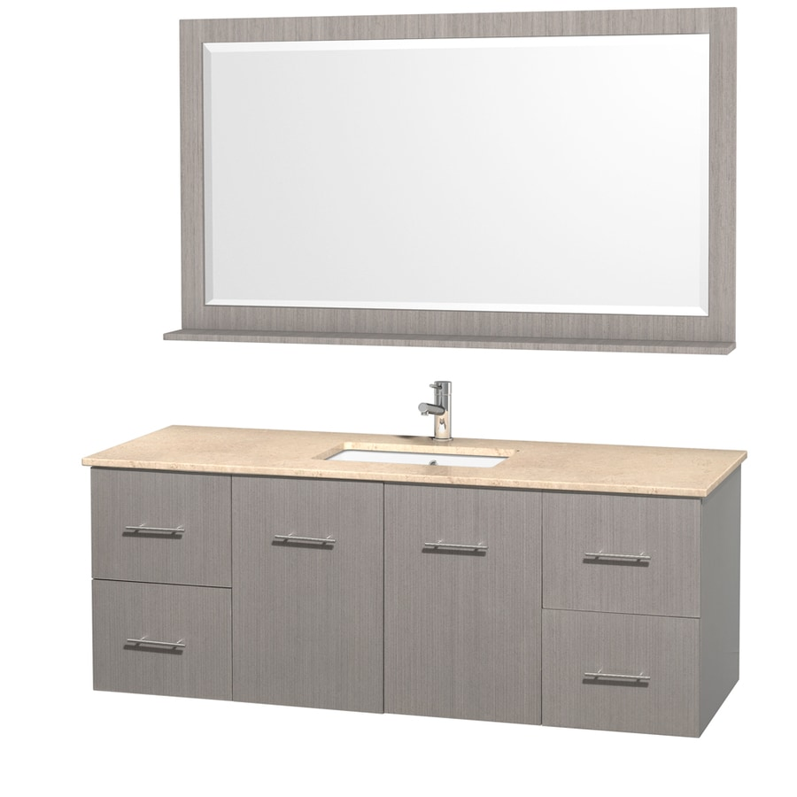Wyndham Collection Centra Gray Oak Undermount Single Sink Oak Bathroom Vanity with Natural Marble Top (Mirror Included) (Common: 60-in x 22.5-in; Actual: 60-in x 22.25-in)