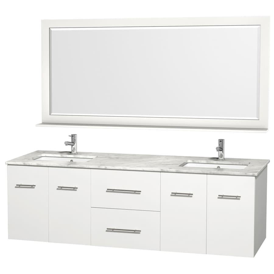 Wyndham Collection Centra White Undermount Double Sink Oak Bathroom Vanity with Natural Marble Top (Mirror Included) (Common: 72-in x 22.5-in; Actual: 72-in x 22.25-in)