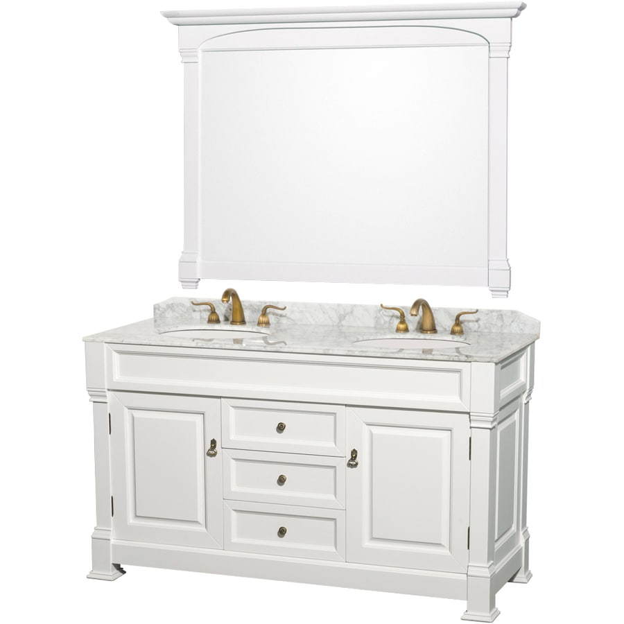 Wyndham Collection Andover White Undermount Double Sink Oak Bathroom Vanity with Natural Marble Top (Mirror Included) (Common: 60-in x 23-in; Actual: 60-in x 23-in)