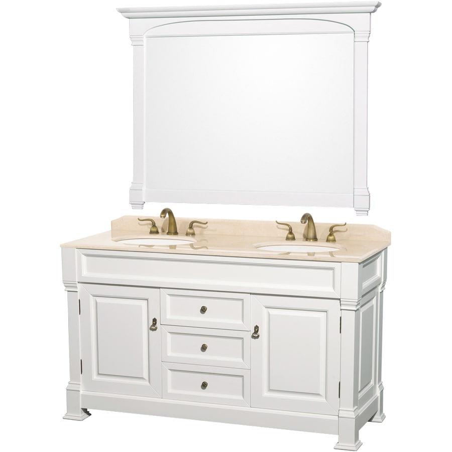 double sink oak bathroom vanity with natural marble top mirror