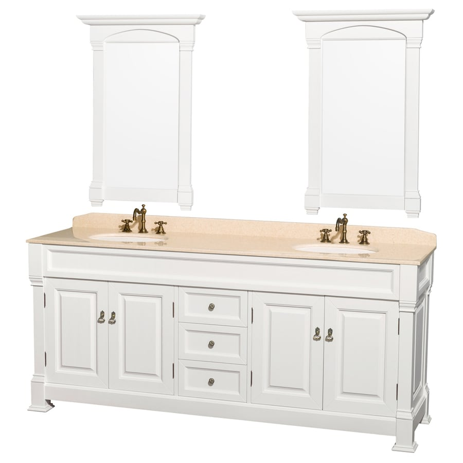 Shop wyndham collection andover white undermount double for Mirrors for bathroom vanity