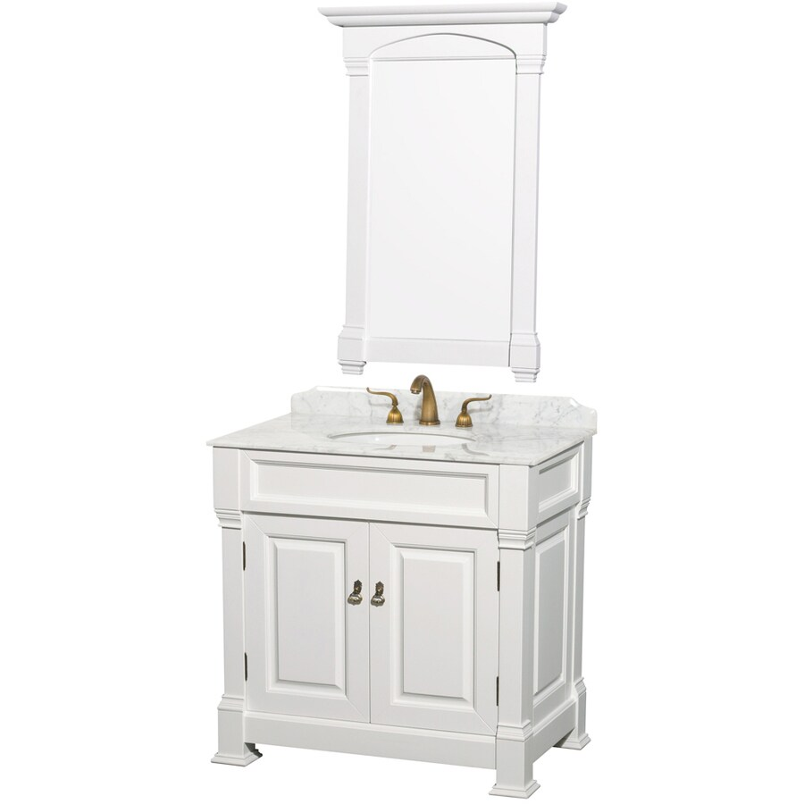 Wyndham Collection Andover White Undermount Single Sink Oak Bathroom Vanity with Natural Marble Top (Mirror Included) (Common: 36-in x 23-in; Actual: 36-in x 23-in)