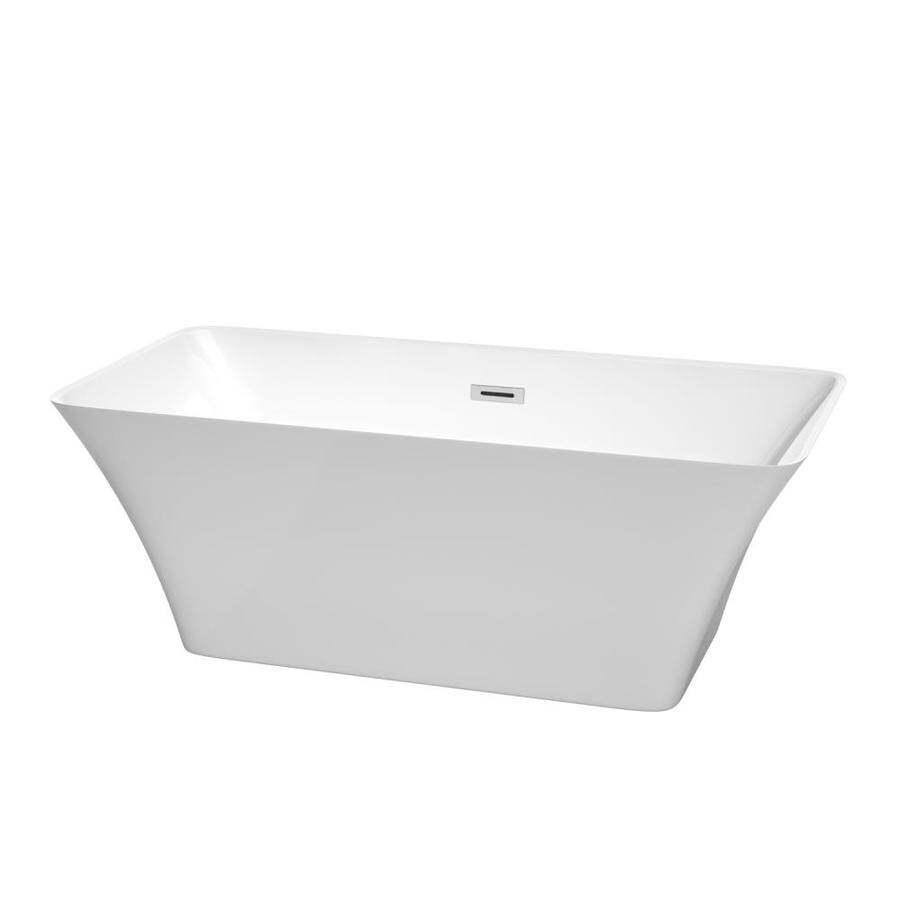 Wyndham Collection Tiffany White Acrylic Rectangular Freestanding Bathtub with Center Drain (Common: 30-in x 59-in; Actual: 22.625-in x 29.5-in x 59-in)