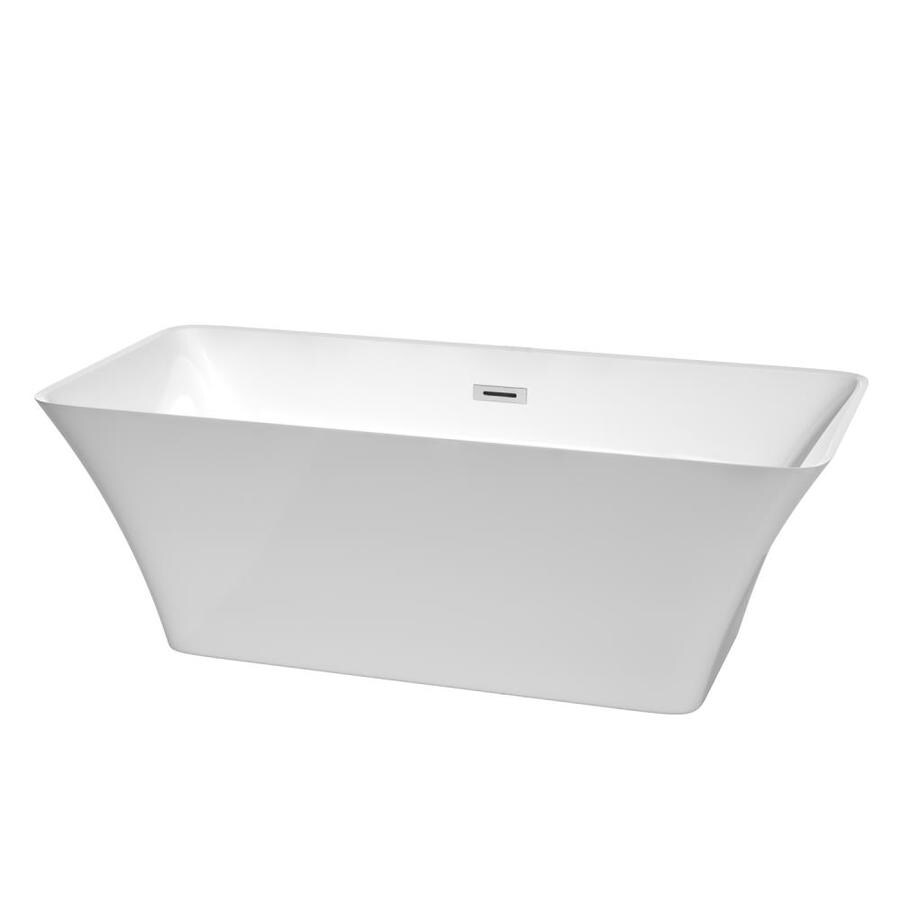 Wyndham Collection Tiffany White Acrylic Rectangular Freestanding Bathtub with Center Drain (Common: 30-in x 67-in; Actual: 22.625-in x 29.5-in x 67-in)