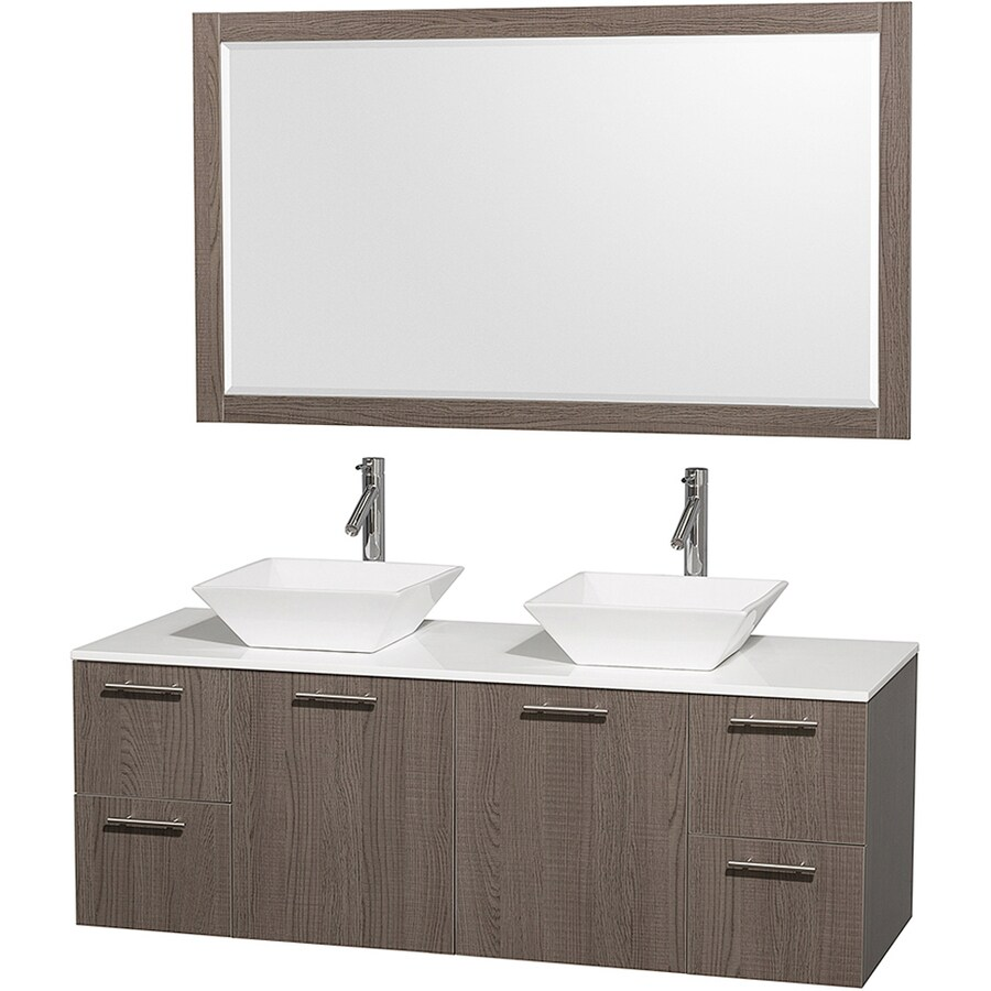 Shop Wyndham Collection Amare Gray Oak Vessel Double Sink Bathroom Vanity Wit