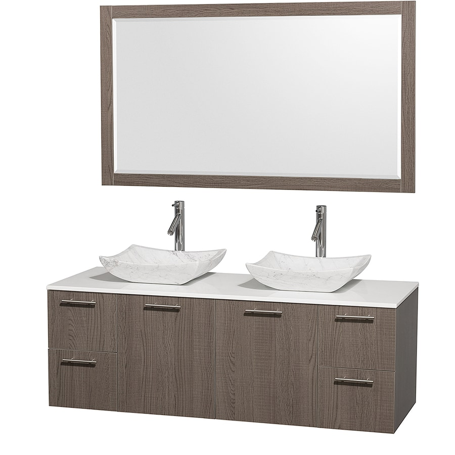 Wyndham Collection Amare Grey Oak Vessel Double Sink Bathroom Vanity with Engineered Stone Top (Mirror Included) (Common: 60-in x 22-in; Actual: 60-in x 22.25-in)