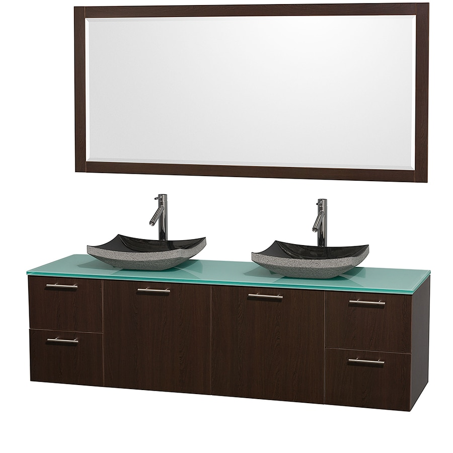 Wyndham Collection Amare Espresso Vessel Double Sink Bathroom Vanity with Tempered Glass and Glass Top (Mirror Included) (Common: 72-in x 22-in; Actual: 72-in x 22.25-in)