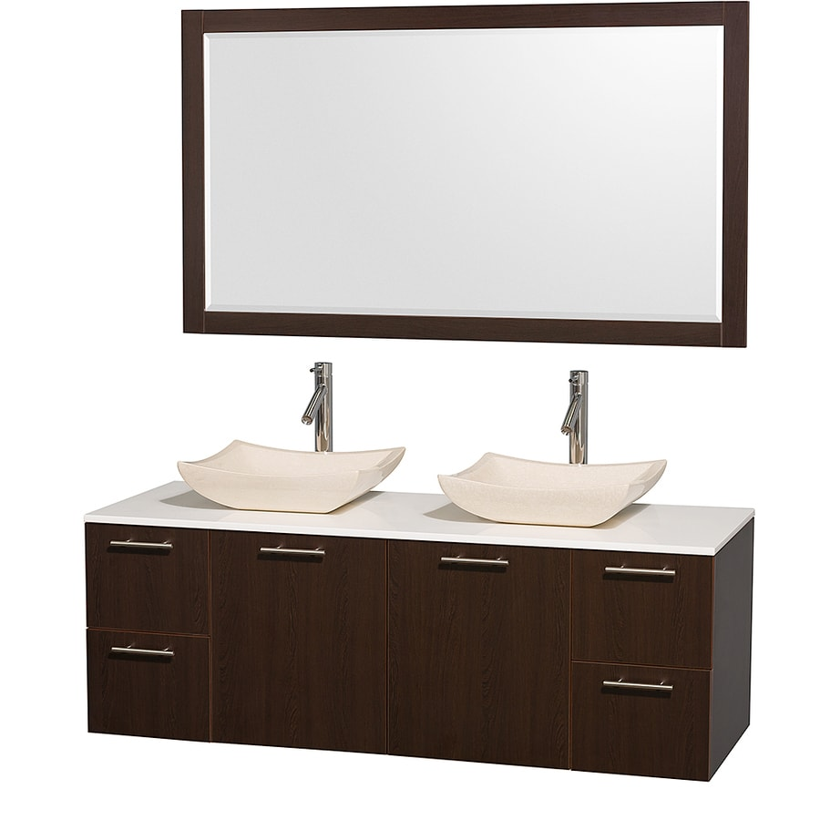 Wyndham Collection Amare Espresso Vessel Double Sink Bathroom Vanity with Engineered Stone Top (Mirror Included) (Common: 60-in x 22-in; Actual: 60-in x 22.25-in)