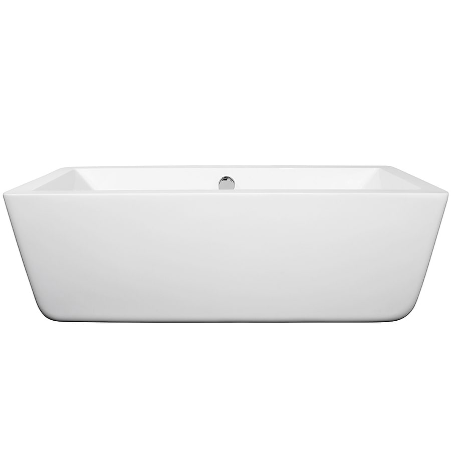 Wyndham Collection Laura White Acrylic Rectangular Freestanding Bathtub with Center Drain (Common: 30-in x 67-in; Actual: 22.5-in x 29.375-in x 66.5-in)