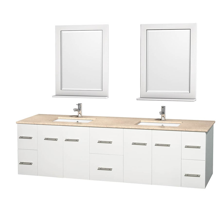 Wyndham Collection Centra White Undermount Double Sink Oak Bathroom Vanity with Natural Marble Top (Mirror Included) (Common: 80-in x 22.5-in; Actual: 80-in x 22.25-in)
