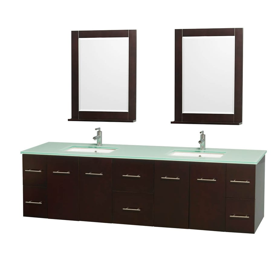 Wyndham Collection Centra Espresso Undermount Double Sink Oak Bathroom Vanity with Tempered Glass and Glass Top (Mirror Included) (Common: 80-in x 22.5-in; Actual: 80-in x 22.25-in)