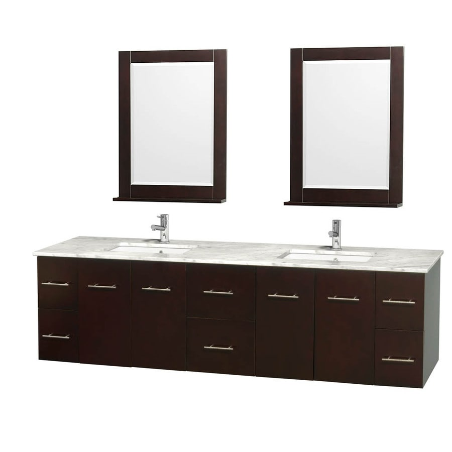Wyndham Collection Centra Espresso Undermount Double Sink Oak Bathroom Vanity with Natural Marble Top (Mirror Included) (Common: 80-in x 22.5-in; Actual: 80-in x 22.25-in)