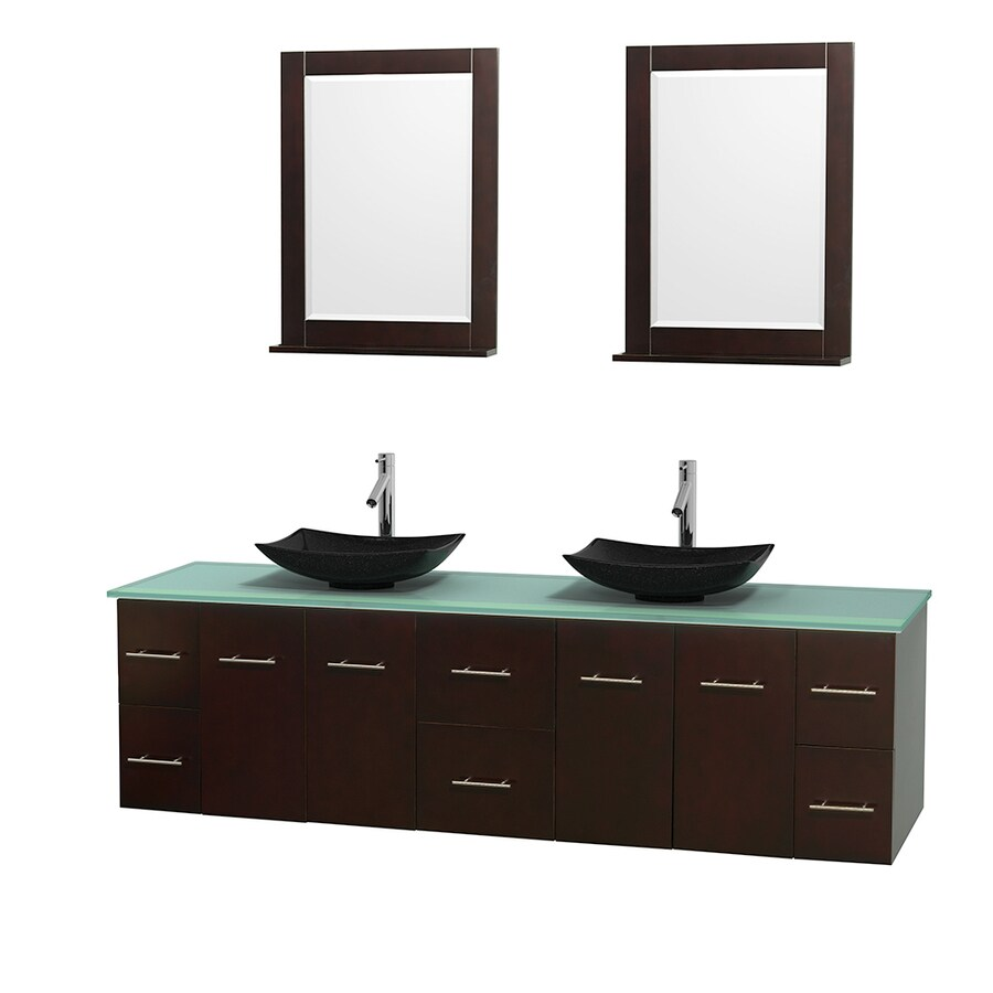 Wyndham Collection Centra Espresso Vessel Double Sink Oak Bathroom Vanity with Tempered Glass and Glass Top (Mirror Included) (Common: 80-in x 22.5-in; Actual: 80-in x 22.25-in)
