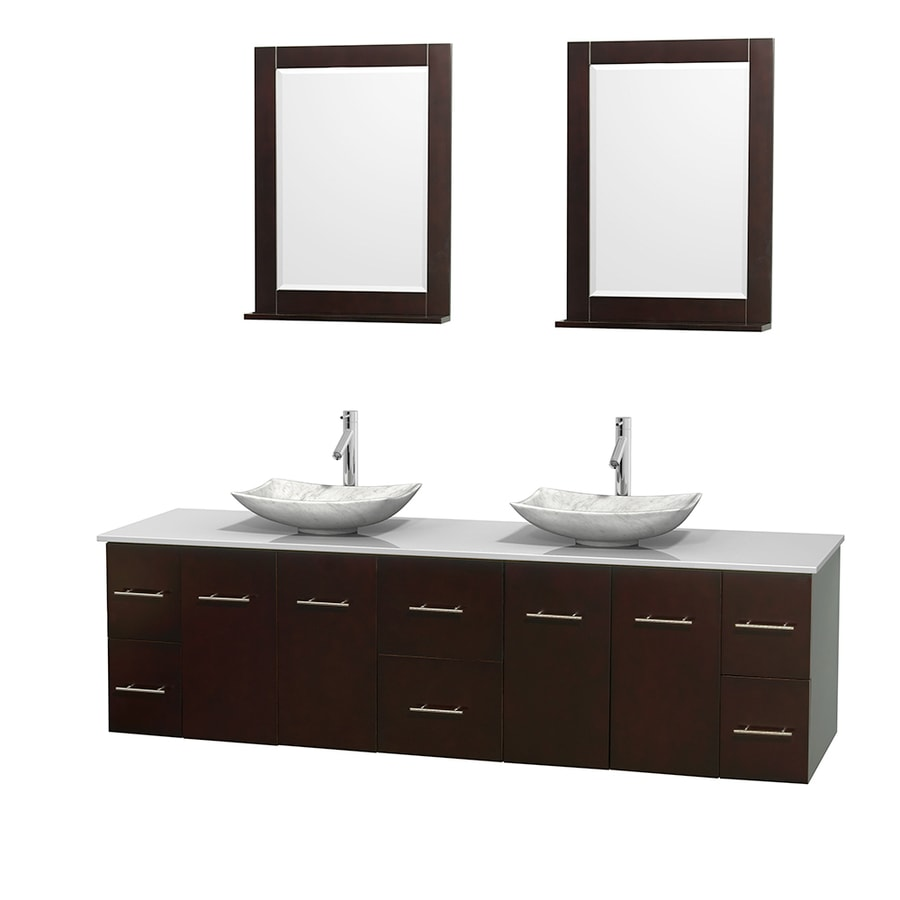 Wyndham Collection Centra Espresso Vessel Double Sink Oak Bathroom Vanity with Engineered Stone Top (Mirror Included) (Common: 80-in x 22.5-in; Actual: 80-in x 22.25-in)