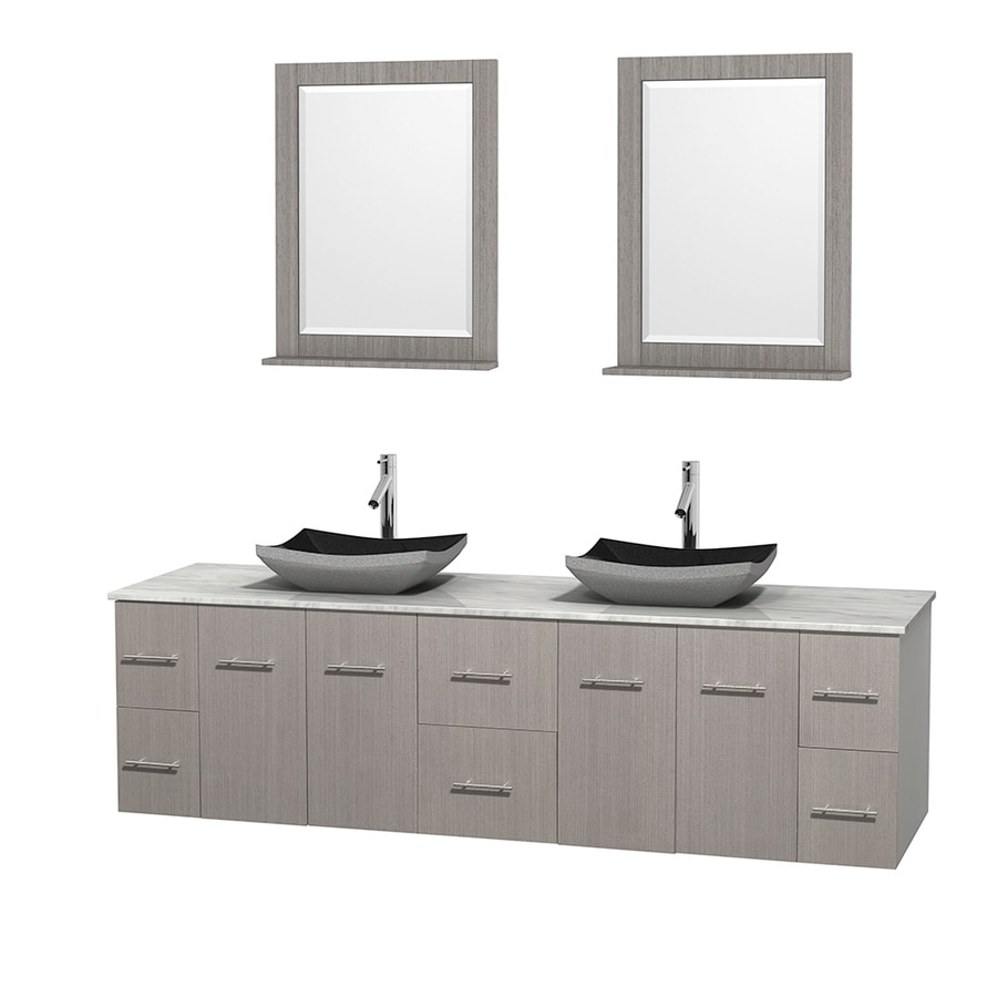 Wyndham Collection Centra Gray Oak Vessel Double Sink Oak Bathroom Vanity with Natural Marble Top (Mirror Included) (Common: 80-in x 22.5-in; Actual: 80-in x 22.25-in)