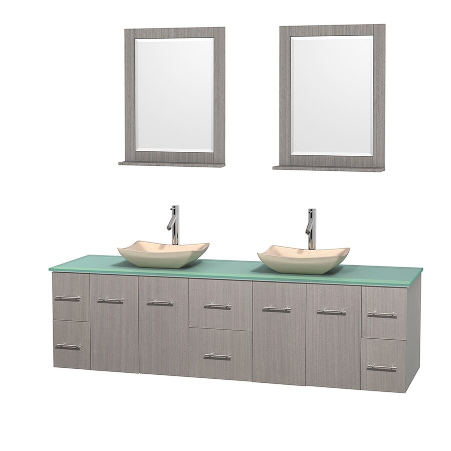 Wyndham Collection Centra Gray Oak Vessel Double Sink Oak Bathroom Vanity with Tempered Glass and Glass Top (Mirror Included) (Common: 80-in x 22.5-in; Actual: 80-in x 22.25-in)