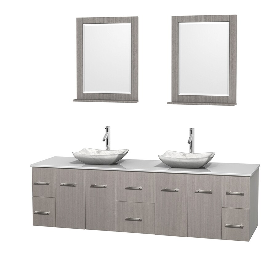 Wyndham Collection Centra Gray Oak Vessel Double Sink Oak Bathroom Vanity with Engineered Stone Top (Mirror Included) (Common: 80-in x 22.5-in; Actual: 80-in x 22.25-in)